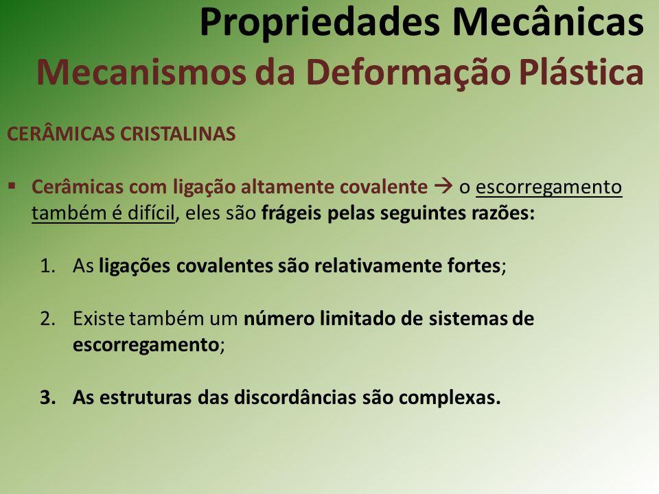 Propriedades Mecânicas Mecanismos da Deformação Plástica CERÂMICAS CRISTALINAS Cerâmicas com ligação altamente covalente o escorregamento também é difícil, eles são frágeis pelas seguintes razões: 1.As ligações covalentes são relativamente fortes; 2.Existe também um número limitado de sistemas de escorregamento; 3.As estruturas das discordâncias são complexas.