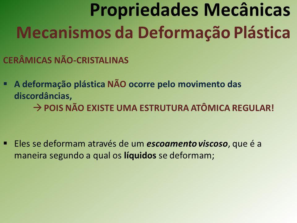 Propriedades Mecânicas Mecanismos da Deformação Plástica CERÂMICAS NÃO-CRISTALINAS A deformação plástica NÃO ocorre pelo movimento das discordâncias, POIS NÃO EXISTE UMA ESTRUTURA ATÔMICA REGULAR.