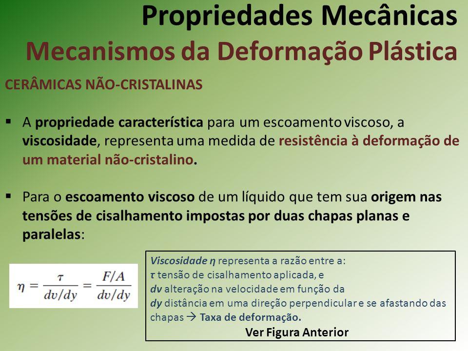 Propriedades Mecânicas Mecanismos da Deformação Plástica CERÂMICAS NÃO-CRISTALINAS A propriedade característica para um escoamento viscoso, a viscosidade, representa uma medida de resistência à deformação de um material não-cristalino.