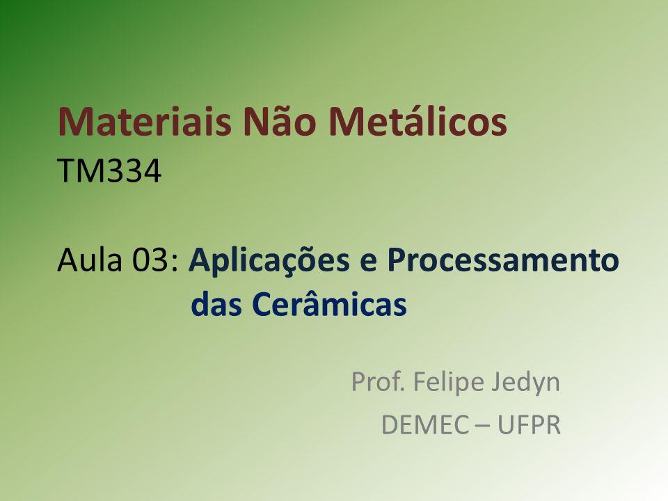 Materiais Não Metálicos TM334 Aula 03: Aplicações e Processamento das Cerâmicas Prof.