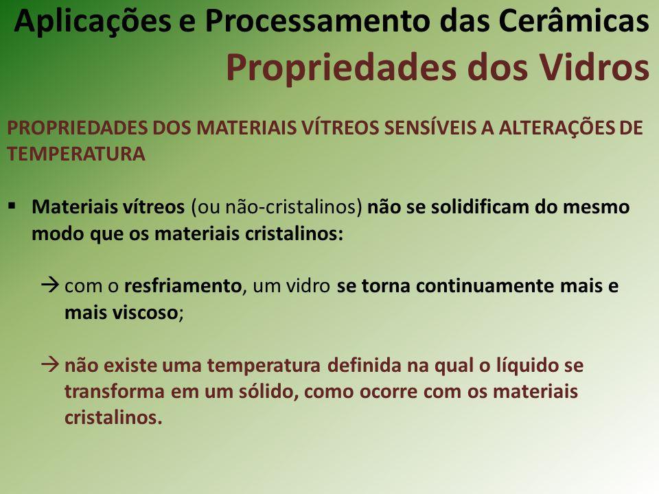Aplicações e Processamento das Cerâmicas Propriedades dos Vidros PROPRIEDADES DOS MATERIAIS VÍTREOS SENSÍVEIS A ALTERAÇÕES DE TEMPERATURA Materiais vítreos (ou não-cristalinos) não se solidificam do mesmo modo que os materiais cristalinos: com o resfriamento, um vidro se torna continuamente mais e mais viscoso; não existe uma temperatura definida na qual o líquido se transforma em um sólido, como ocorre com os materiais cristalinos.