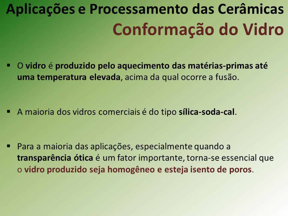 Aplicações e Processamento das Cerâmicas Conformação do Vidro O vidro é produzido pelo aquecimento das matérias-primas até uma temperatura elevada, acima da qual ocorre a fusão.