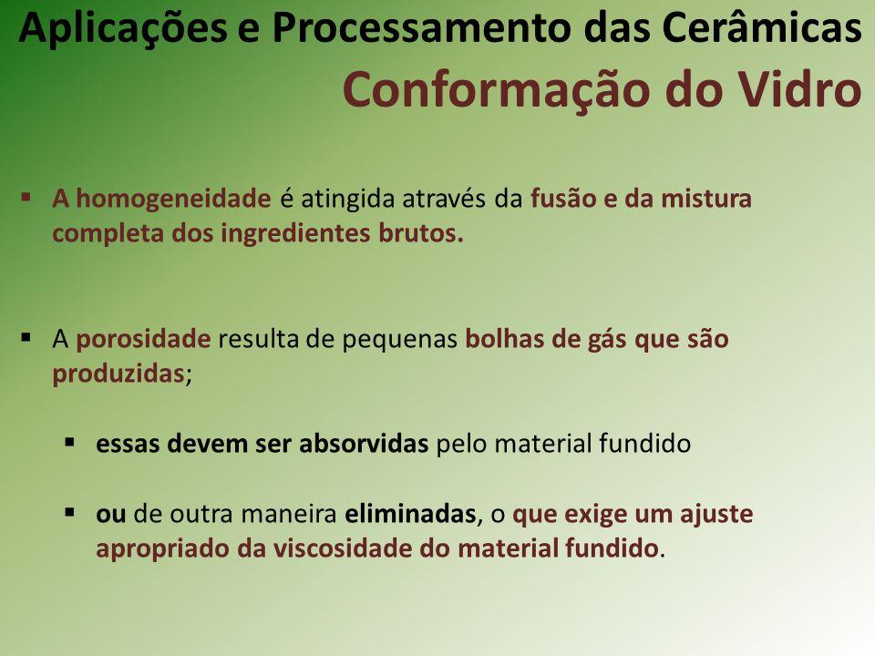 Aplicações e Processamento das Cerâmicas Conformação do Vidro A homogeneidade é atingida através da fusão e da mistura completa dos ingredientes brutos.