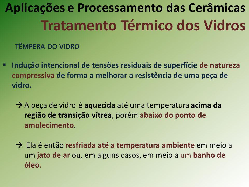 Aplicações e Processamento das Cerâmicas Tratamento Térmico dos Vidros TÊMPERA DO VIDRO Indução intencional de tensões residuais de superfície de natureza compressiva de forma a melhorar a resistência de uma peça de vidro.