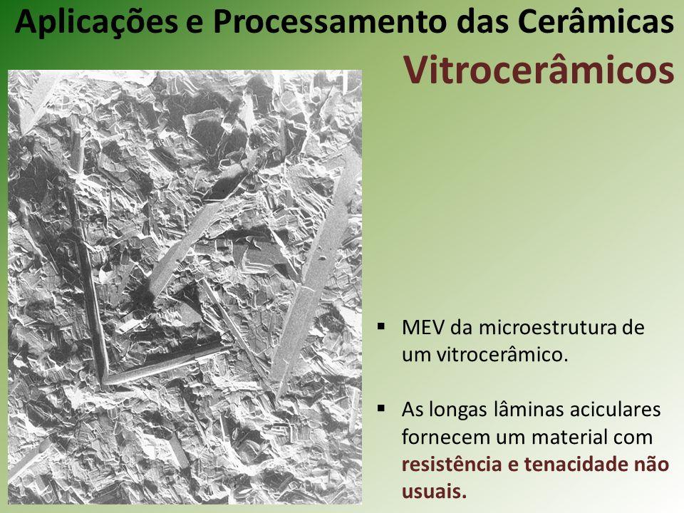 MEV da microestrutura de um vitrocerâmico.