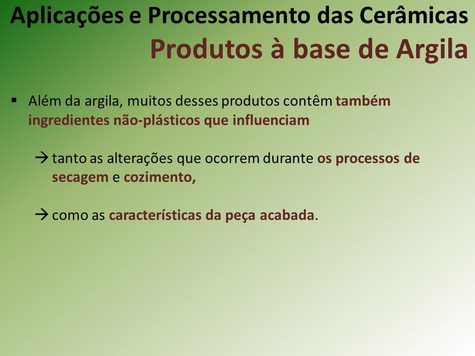 Além da argila, muitos desses produtos contêm também ingredientes não-plásticos que influenciam tanto as alterações que ocorrem durante os processos de secagem e cozimento, como as características da peça acabada.