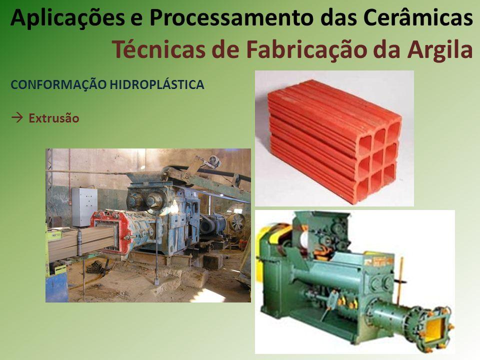 CONFORMAÇÃO HIDROPLÁSTICA Extrusão Aplicações e Processamento das Cerâmicas Técnicas de Fabricação da Argila