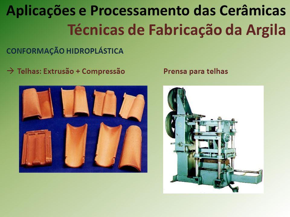 CONFORMAÇÃO HIDROPLÁSTICA Telhas: Extrusão + Compressão Prensa para telhas Aplicações e Processamento das Cerâmicas Técnicas de Fabricação da Argila