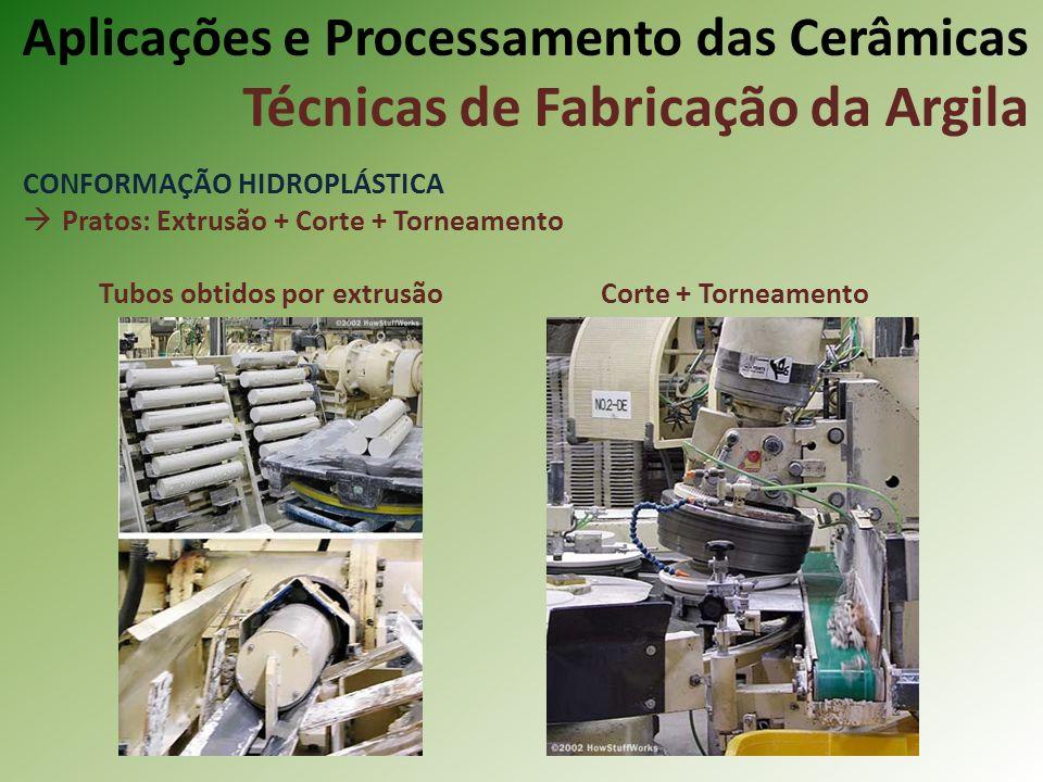 CONFORMAÇÃO HIDROPLÁSTICA Pratos: Extrusão + Corte + Torneamento Tubos obtidos por extrusão Corte + Torneamento Aplicações e Processamento das Cerâmicas Técnicas de Fabricação da Argila