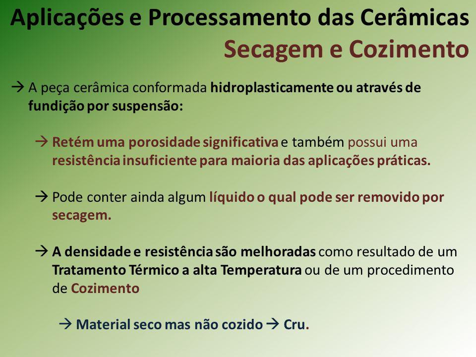 A peça cerâmica conformada hidroplasticamente ou através de fundição por suspensão: Retém uma porosidade significativa e também possui uma resistência insuficiente para maioria das aplicações práticas.