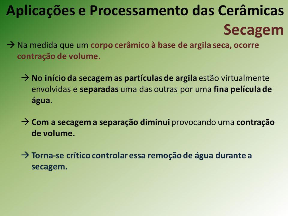 Na medida que um corpo cerâmico à base de argila seca, ocorre contração de volume.