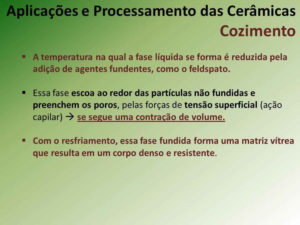 A temperatura na qual a fase líquida se forma é reduzida pela adição de agentes fundentes, como o feldspato.