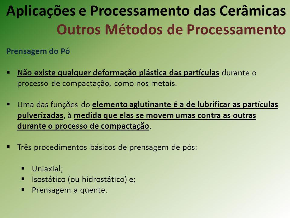 Prensagem do Pó Não existe qualquer deformação plástica das partículas durante o processo de compactação, como nos metais.