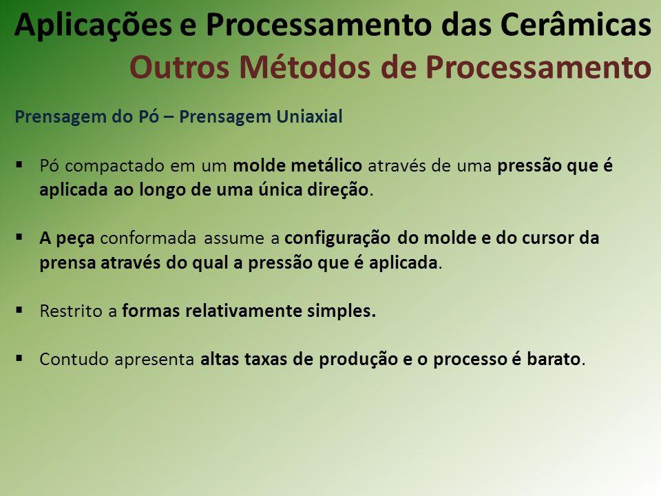 Prensagem do Pó – Prensagem Uniaxial Pó compactado em um molde metálico através de uma pressão que é aplicada ao longo de uma única direção.