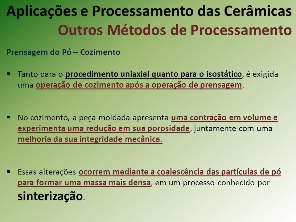 Prensagem do Pó – Cozimento Tanto para o procedimento uniaxial quanto para o isostático, é exigida uma operação de cozimento após a operação de prensagem.