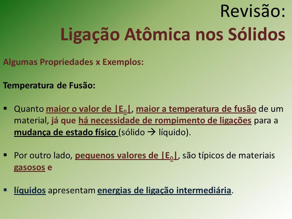 Revisão: Ligação Atômica nos Sólidos Algumas Propriedades x Exemplos: Temperatura de Fusão: Quanto maior o valor de |E 0 |, maior a temperatura de fusão de um material, já que há necessidade de rompimento de ligações para a mudança de estado físico (sólido líquido).