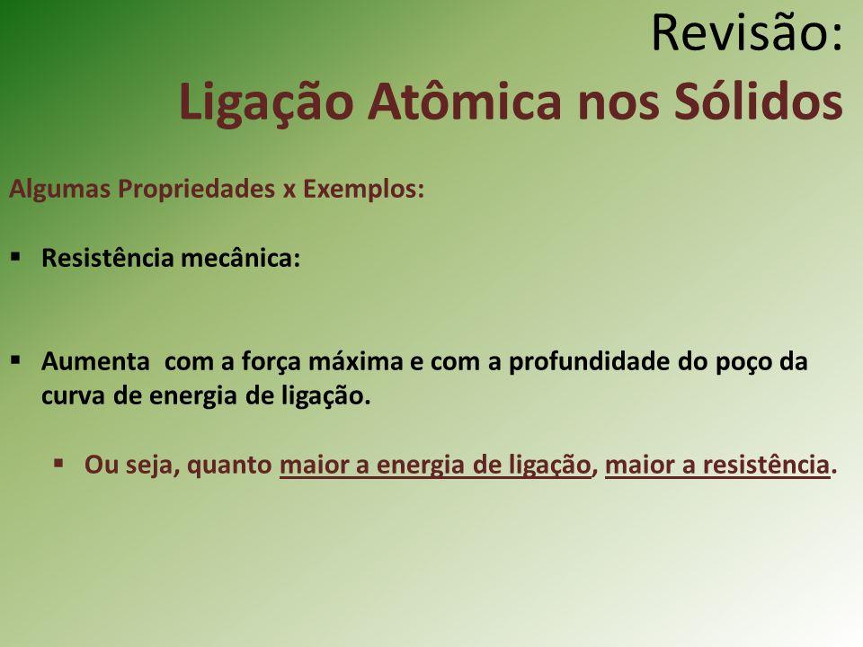 Revisão: Ligação Atômica nos Sólidos Algumas Propriedades x Exemplos: Resistência mecânica: Aumenta com a força máxima e com a profundidade do poço da curva de energia de ligação.