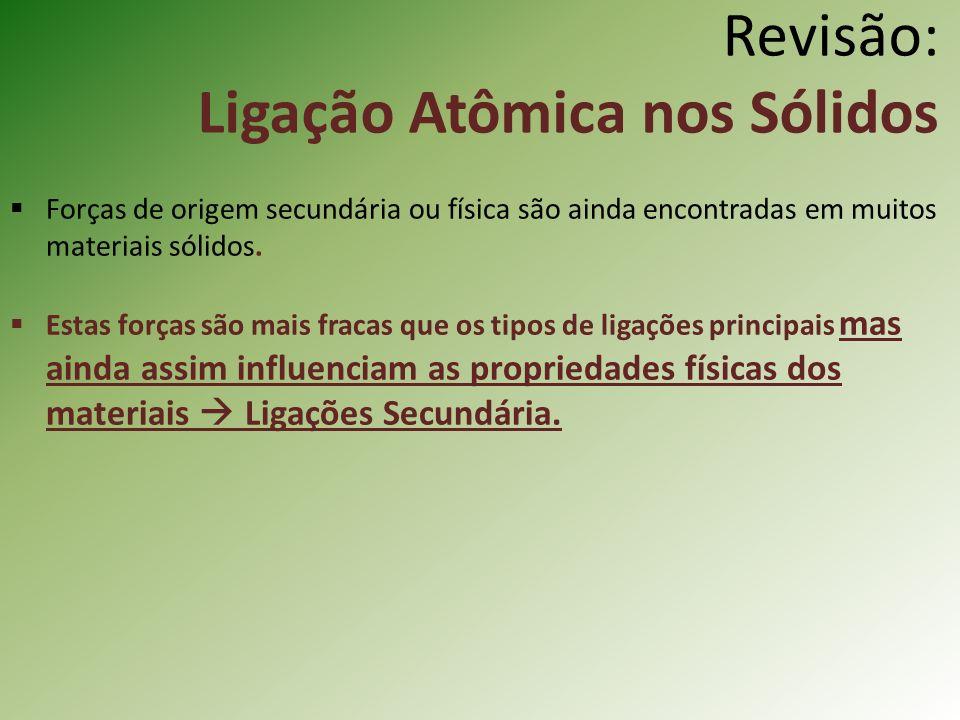 Revisão: Ligação Atômica nos Sólidos Forças de origem secundária ou física são ainda encontradas em muitos materiais sólidos.