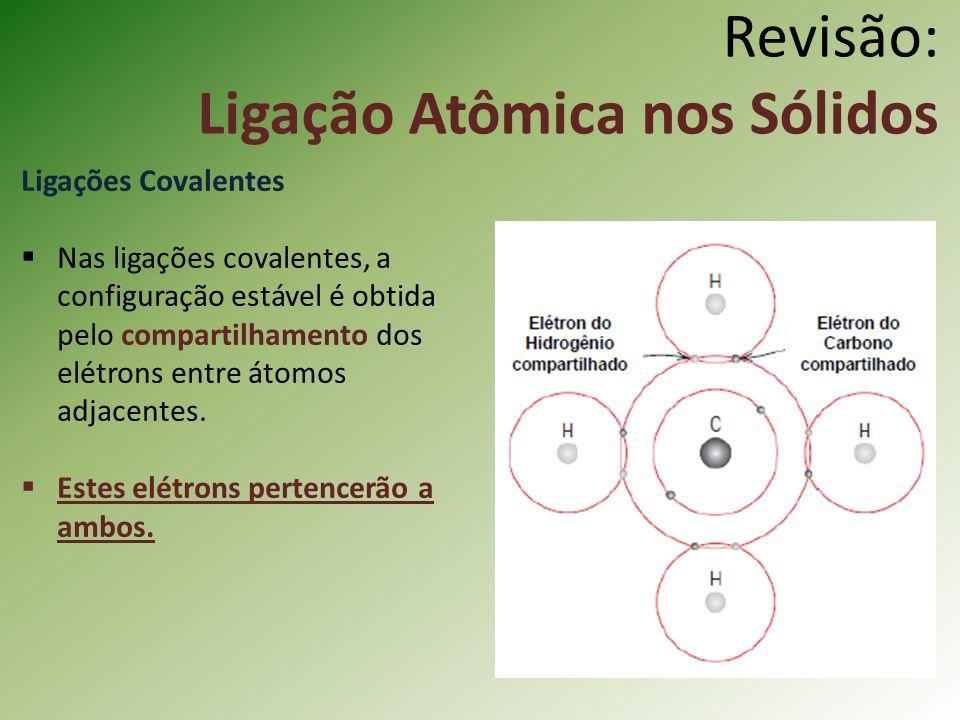 Revisão: Ligação Atômica nos Sólidos Ligações Covalentes Nas ligações covalentes, a configuração estável é obtida pelo compartilhamento dos elétrons entre átomos adjacentes.