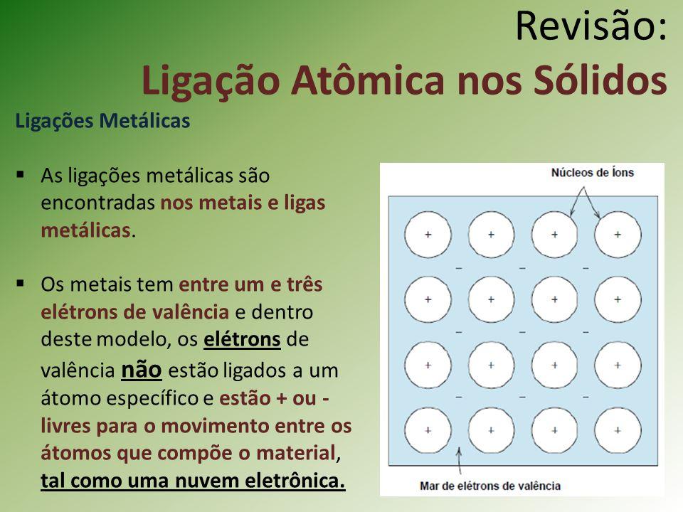 Revisão: Ligação Atômica nos Sólidos Ligações Metálicas As ligações metálicas são encontradas nos metais e ligas metálicas.