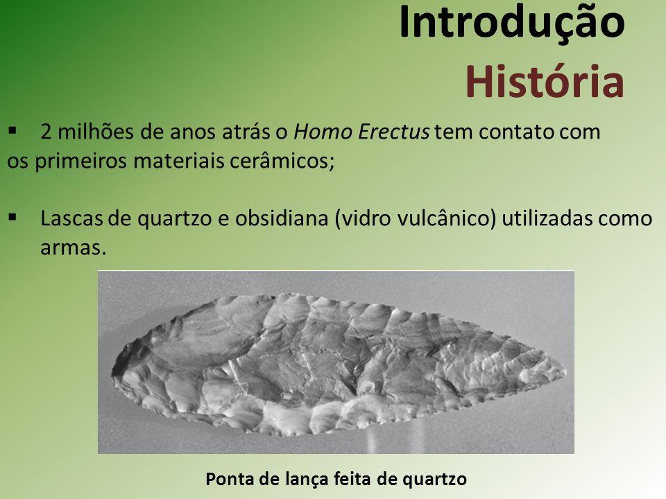 Introdução História 2 milhões de anos atrás o Homo Erectus tem contato com os primeiros materiais cerâmicos; Lascas de quartzo e obsidiana (vidro vulcânico) utilizadas como armas.