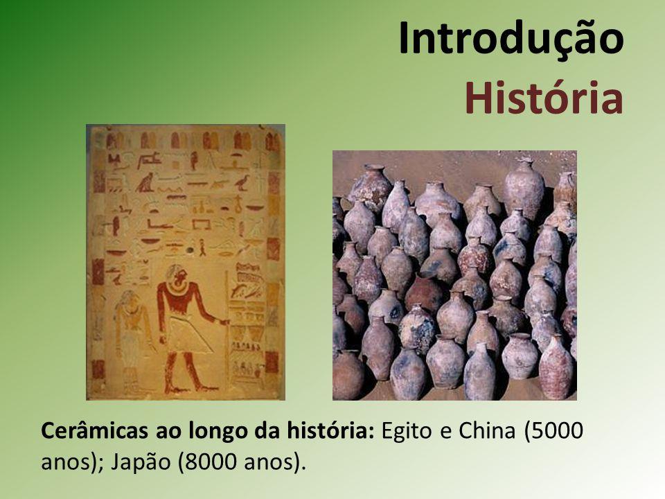 Introdução História Cerâmicas ao longo da história: Egito e China (5000 anos); Japão (8000 anos).