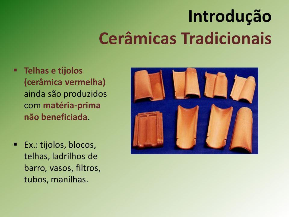 Telhas e tijolos (cerâmica vermelha) ainda são produzidos com matéria-prima não beneficiada.