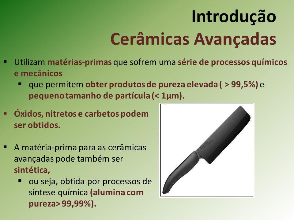 Introdução Cerâmicas Avançadas Utilizam matérias-primas que sofrem uma série de processos químicos e mecânicos que permitem obter produtos de pureza elevada ( > 99,5%) e pequeno tamanho de partícula (< 1µm).