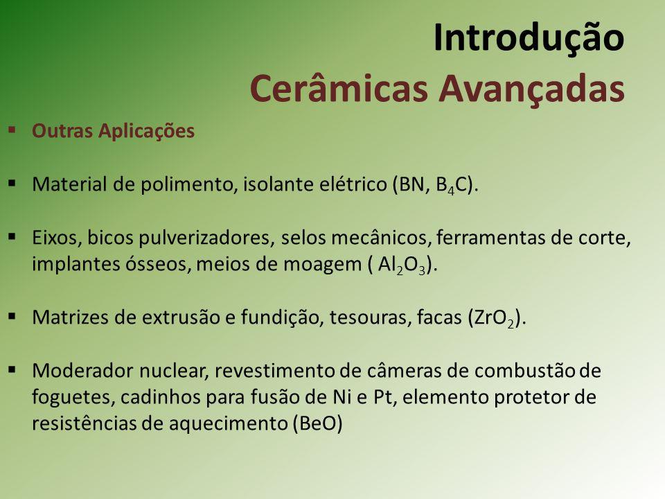 Outras Aplicações Material de polimento, isolante elétrico (BN, B 4 C).