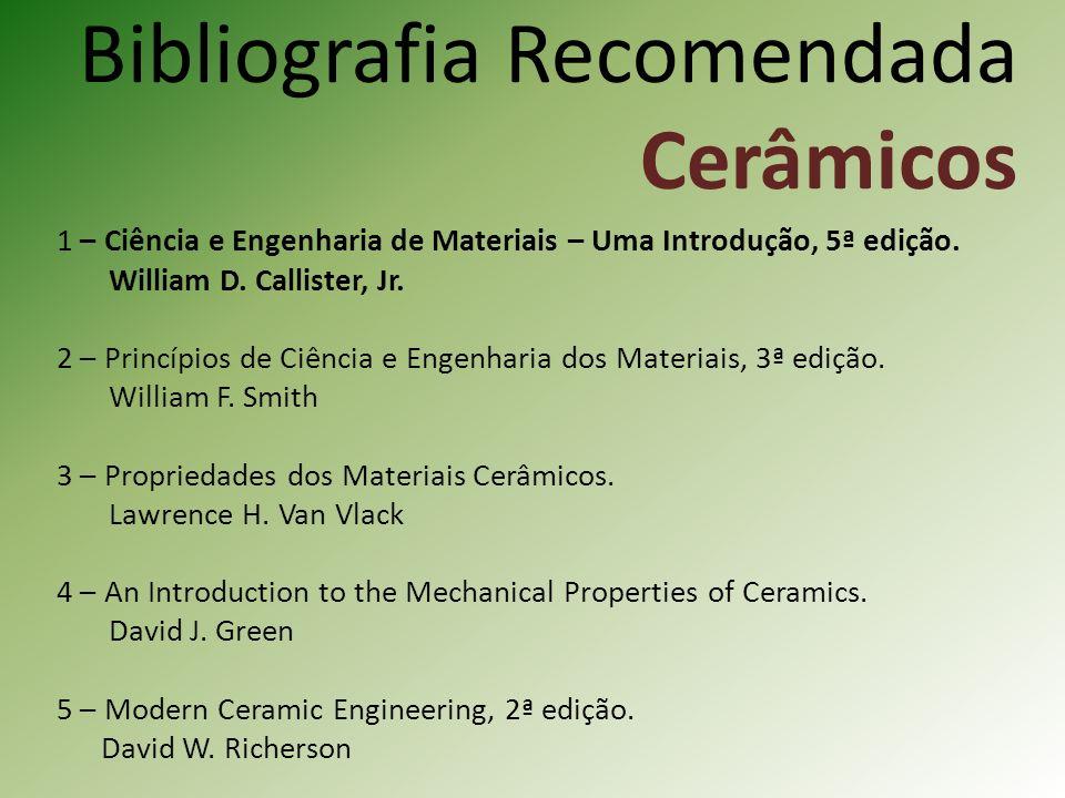 Bibliografia Recomendada Cerâmicos 1 – Ciência e Engenharia de Materiais – Uma Introdução, 5ª edição.