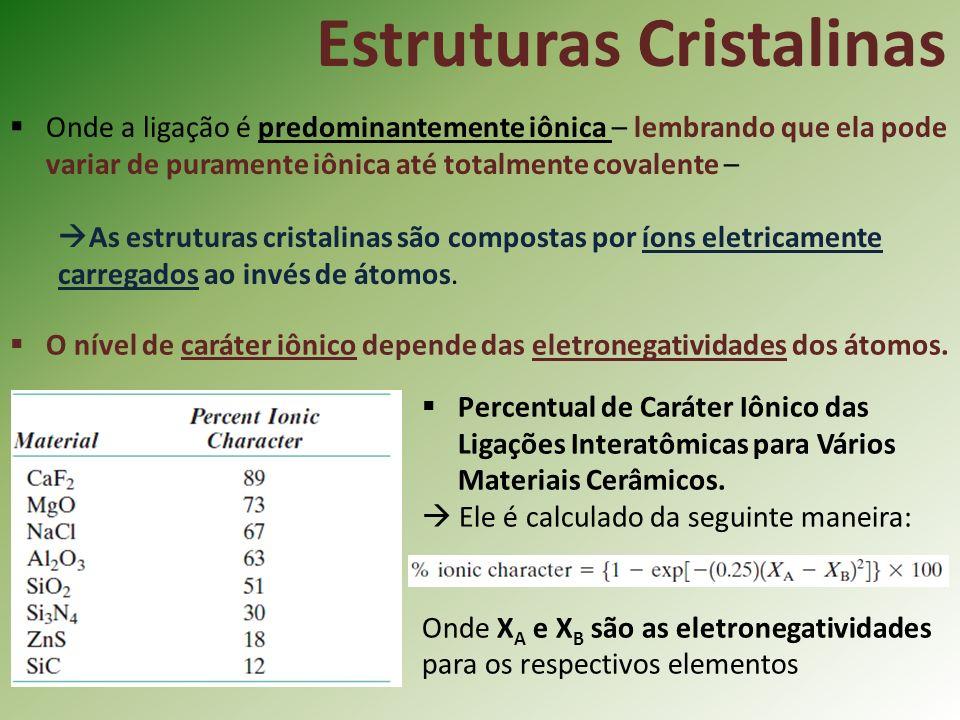 Estruturas Cristalinas Onde a ligação é predominantemente iônica – lembrando que ela pode variar de puramente iônica até totalmente covalente – As estruturas cristalinas são compostas por íons eletricamente carregados ao invés de átomos.