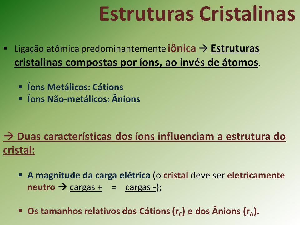 Ligação atômica predominantemente iônica Estruturas cristalinas compostas por íons, ao invés de átomos.