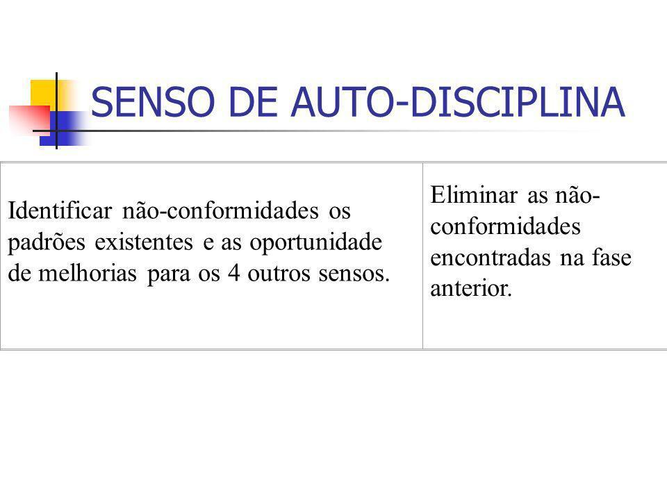 SENSO DE AUTO-DISCIPLINA Identificar não-conformidades os padrões existentes e as oportunidade de melhorias para os 4 outros sensos. Eliminar as não-