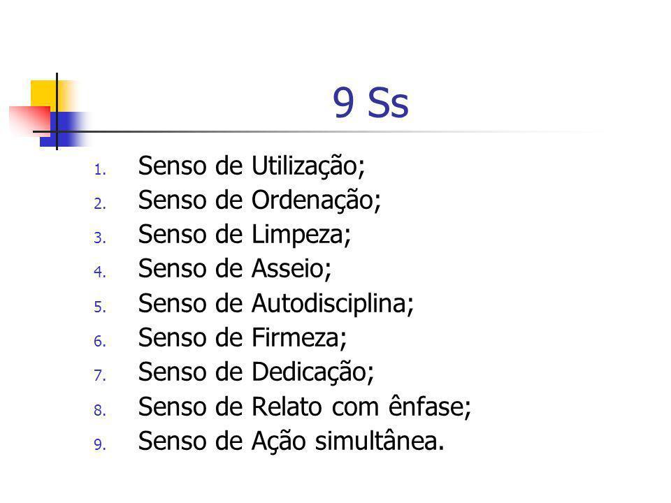 9 Ss 1. Senso de Utilização; 2. Senso de Ordenação; 3. Senso de Limpeza; 4. Senso de Asseio; 5. Senso de Autodisciplina; 6. Senso de Firmeza; 7. Senso