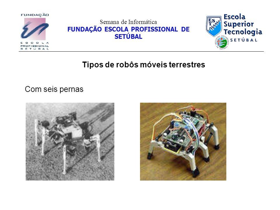 Tipos de robôs móveis terrestres Semana de Informática FUNDAÇÃO ESCOLA PROFISSIONAL DE SETÚBAL Com seis pernas