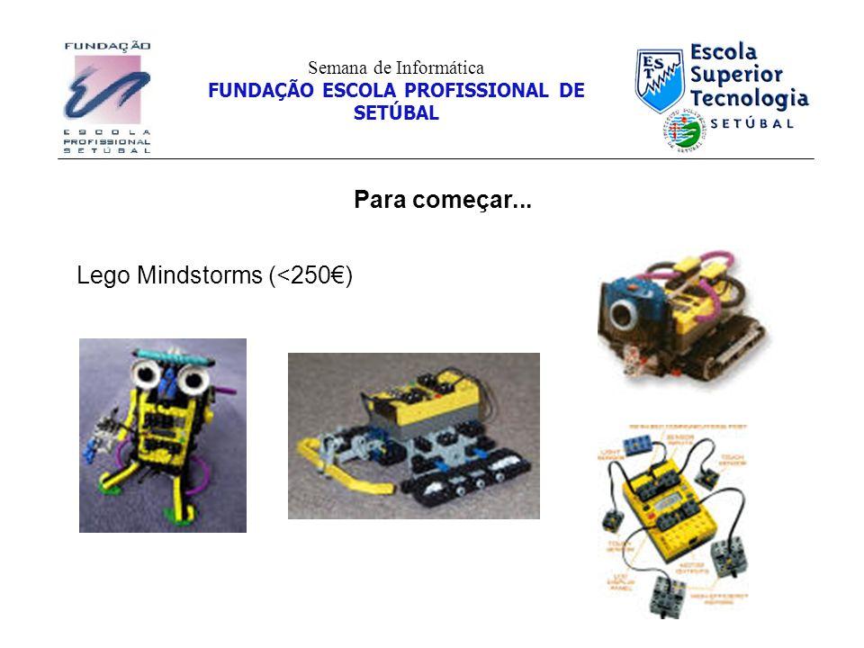 Para começar... Semana de Informática FUNDAÇÃO ESCOLA PROFISSIONAL DE SETÚBAL Lego Mindstorms (<250)
