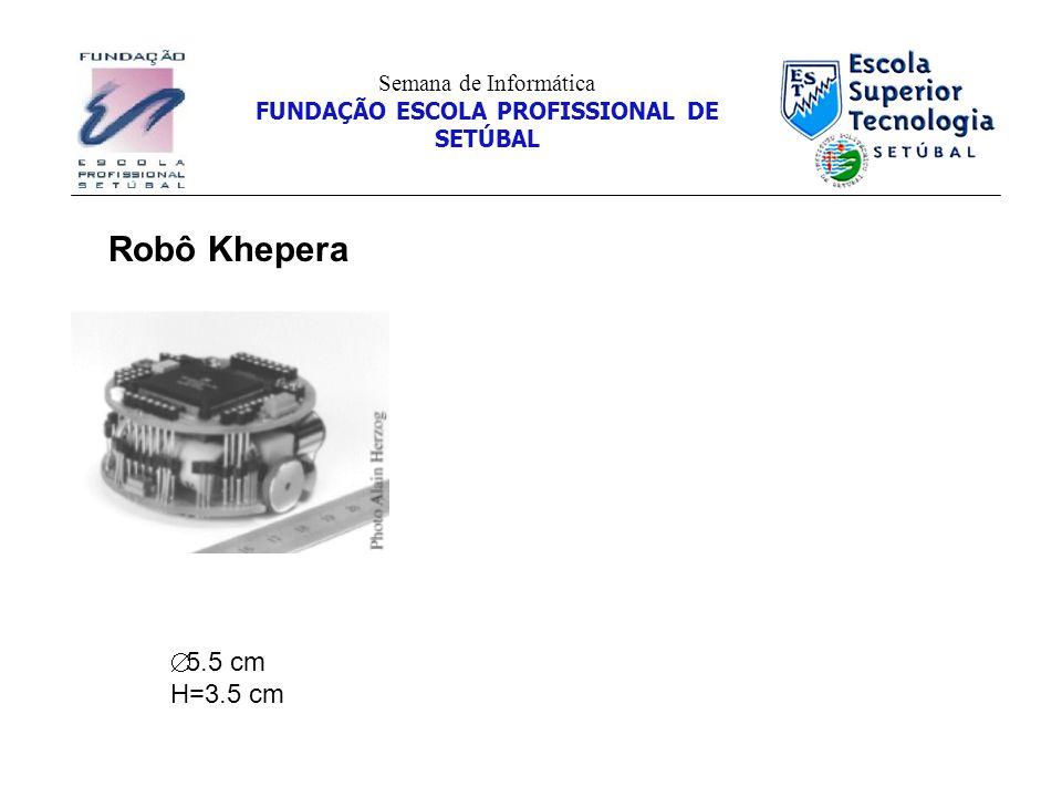 Robô Khepera 5.5 cm H=3.5 cm Semana de Informática FUNDAÇÃO ESCOLA PROFISSIONAL DE SETÚBAL