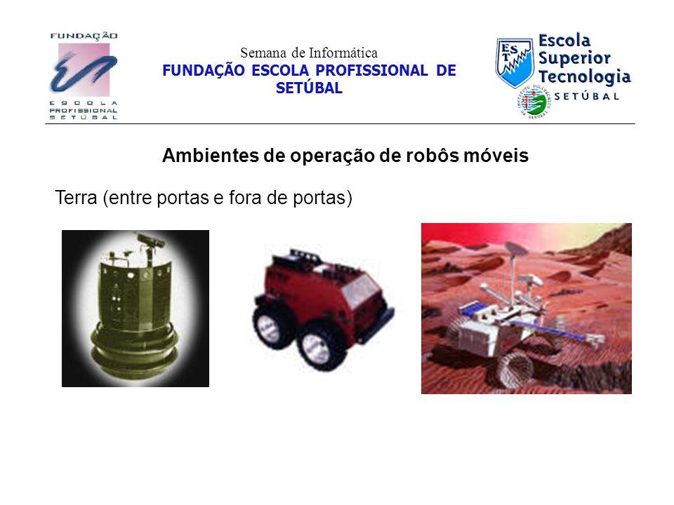 Ambientes de operação de robôs móveis Semana de Informática FUNDAÇÃO ESCOLA PROFISSIONAL DE SETÚBAL Terra (entre portas e fora de portas)