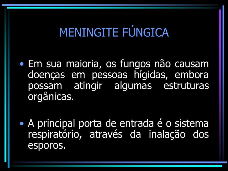 MENINGITE FÚNGICA Em sua maioria, os fungos não causam doenças em pessoas hígidas, embora possam atingir algumas estruturas orgânicas.