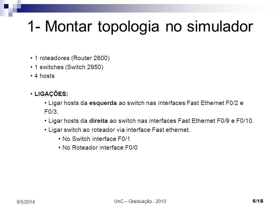 UnC – Graduação - 2010 6/18 6/5/2014 1- Montar topologia no simulador 1 roteadores (Router 2600) 1 switches (Switch 2950) 4 hosts LIGAÇÕES: Ligar host