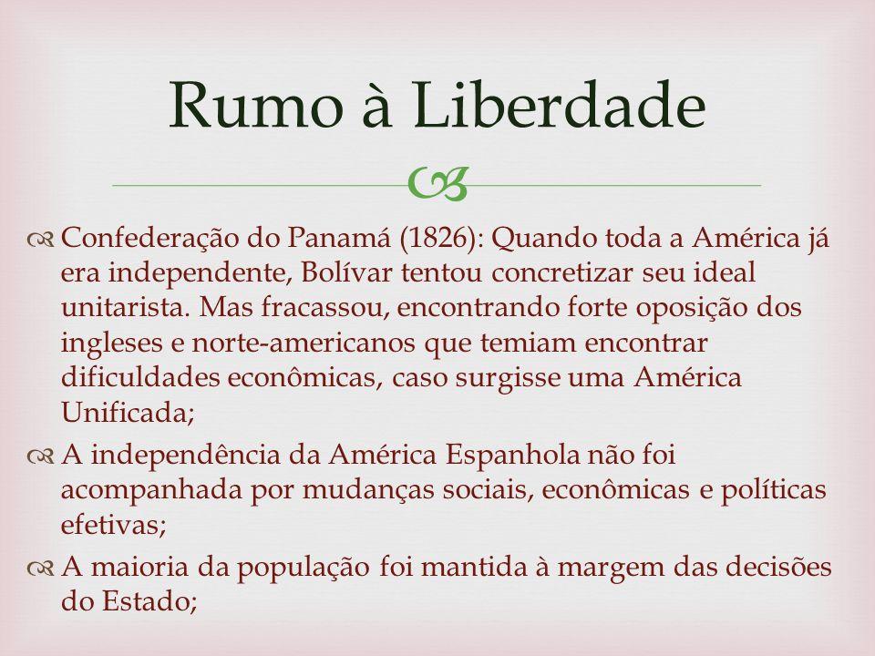 Confederação do Panamá (1826): Quando toda a América já era independente, Bolívar tentou concretizar seu ideal unitarista.