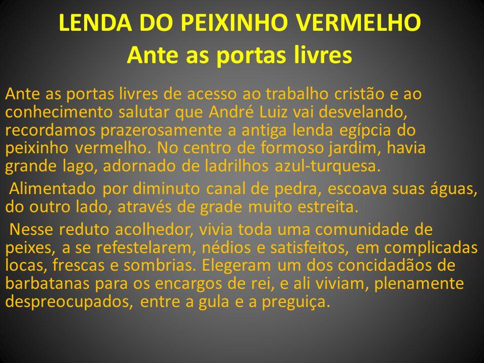 LENDA DO PEIXINHO VERMELHO Ante as portas livres Ante as portas livres de acesso ao trabalho cristão e ao conhecimento salutar que André Luiz vai desv