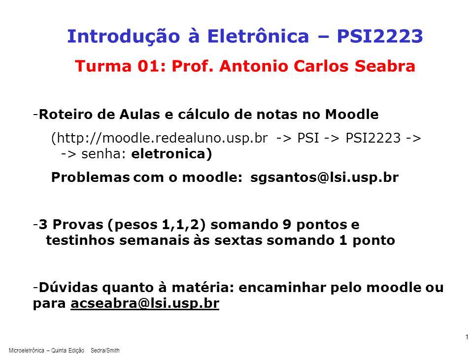 Microeletrônica – Quinta Edição Sedra/Smith 1 Introdução à Eletrônica – PSI2223 Turma 01: Prof. Antonio Carlos Seabra -Roteiro de Aulas e cálculo de n