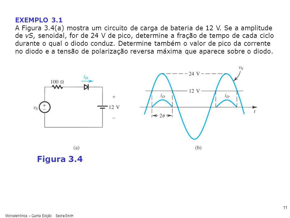 Microeletrônica – Quinta Edição Sedra/Smith 11 Figura 3.4 EXEMPLO 3.1 A Figura 3.4(a) mostra um circuito de carga de bateria de 12 V. Se a amplitude d