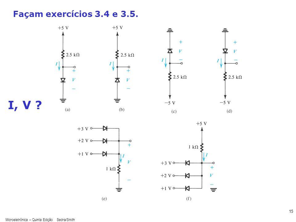 Microeletrônica – Quinta Edição Sedra/Smith 15 Façam exercícios 3.4 e 3.5. I, V ?