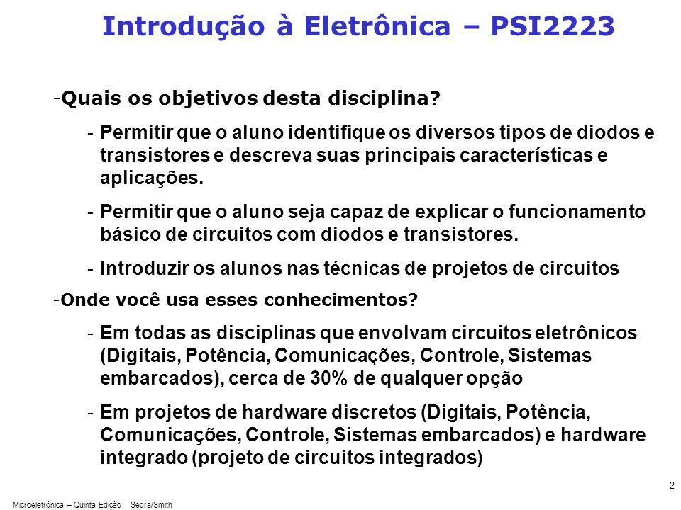 Microeletrônica – Quinta Edição Sedra/Smith 2 Introdução à Eletrônica – PSI2223 -Quais os objetivos desta disciplina? -Permitir que o aluno identifiqu