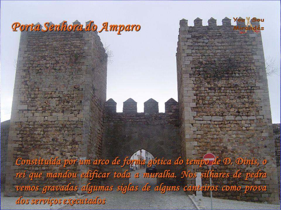 Porta Senhora do Amparo Constituída por um arco de forma gótica do tempo de D. Dinis, o rei que mandou edificar toda a muralha. Nos silhares de pedra