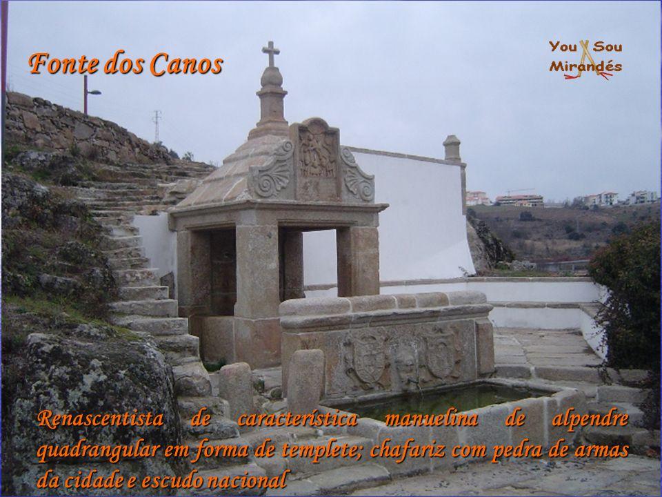 Fonte dos Canos Renascentista de característica manuelina de alpendre quadrangular em forma de templete; chafariz com pedra de armas da cidade e escud