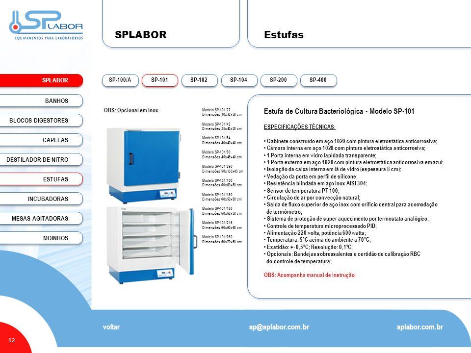 SPLABOR 12 Estufas splabor.com.br sp@splabor.com.br voltar Estufa de Cultura Bacteriológica - Modelo SP-101 ESPECIFICAÇÕES TÉCNICAS: Gabinete construí