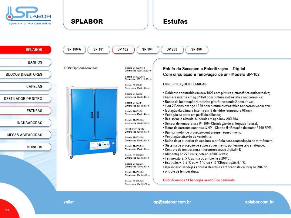 SPLABOR 13 Estufas splabor.com.br sp@splabor.com.br voltar Estufa de Secagem e Esterilização – Digital Com circulação e renovação de ar - Modelo SP-10
